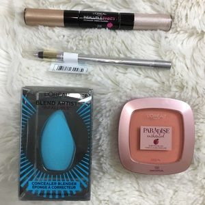 Loreal 4 Pc Makeup Lot Eyeshadow Blender Blush B8